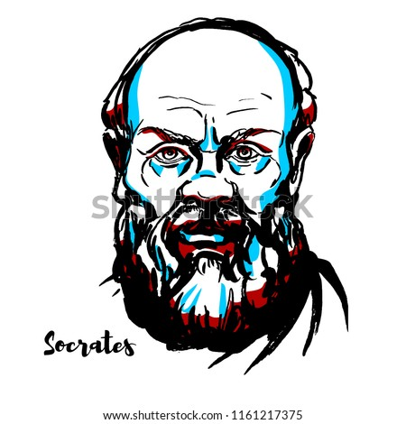 Socrates engraved vector portrait with ink contours. Classical Greek (Athenian) philosopher credited as one of the founders of Western philosophy, and as being the first moral philosopher,of the Weste