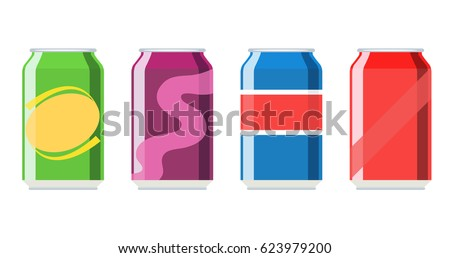 Soda aluminium can set vector illustration isolated on white background. Cold drink, soda beverage, vending machine menu pictogram.