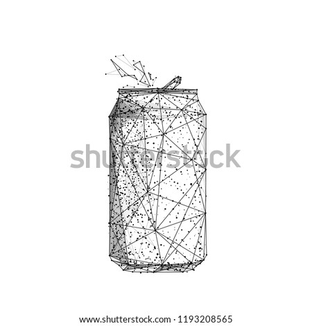 Soda can. Beer can. Isolated black vector illustration in low-poly style on a white background. The drawing consists of thin lines and dots. Polygonal image on topics of drinks or food. Low poly EPS.