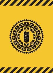 soda can icon black grunge emblem inside yellow warning sign. Vector Illustration. Detailed.