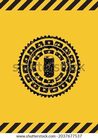 soda can icon black grunge emblem inside yellow warning sign. Vector Illustration. Detailed.  Foto stock ©