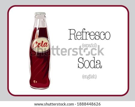 Soda cola vintage vector illustration. Refresco de Cola en vectores. Classic  Soda bottle .