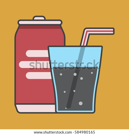soda  tubule and glass  cold