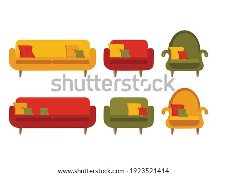 sofa and armchair  colored