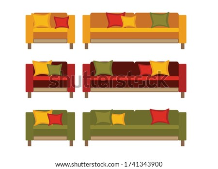 sofa and armchair  red  green