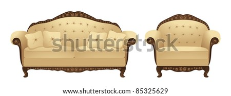 Sofa and armchair. Vector illustration