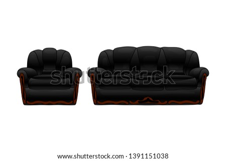 sofa and chair set black color