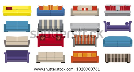 Sofa and couches colorful vector flat illustration set. Collection of a comfortable lounge. Different models of settee icons. Isolated on white background.