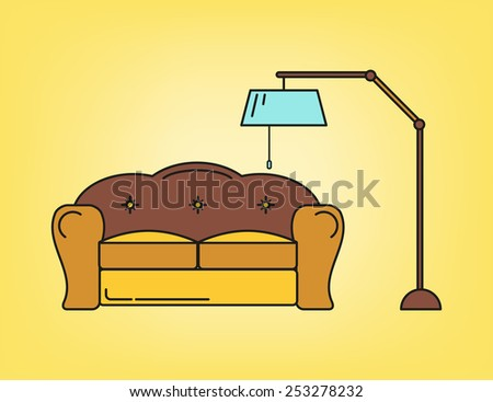 Sofa and lamp in living room in yellow tone