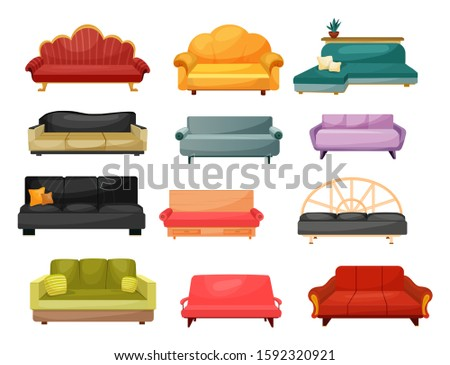 Sofa and lounge couch, vector flat icons of home furniture. Modern and classic vintage upholstery sofas, divans and settee with pillow cushions, home and office interior