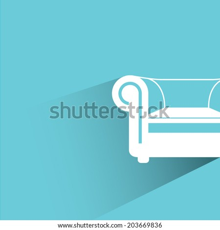 sofa  blue background  flat and