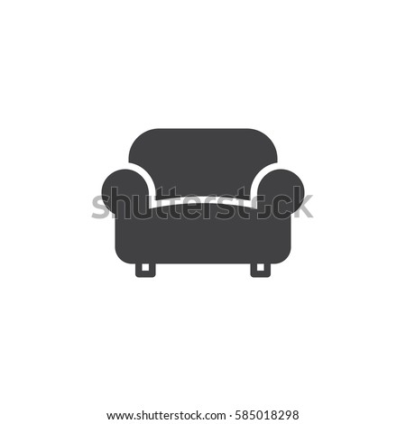 Sofa, couch icon vector, filled flat sign, solid pictogram isolated on white. Furniture symbol, logo illustration