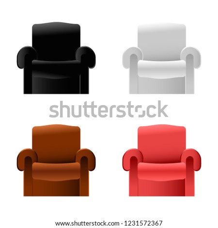 Sofa Furniture Isolated; Black, White, Red, Brown leather reclining chair vector #1231572367