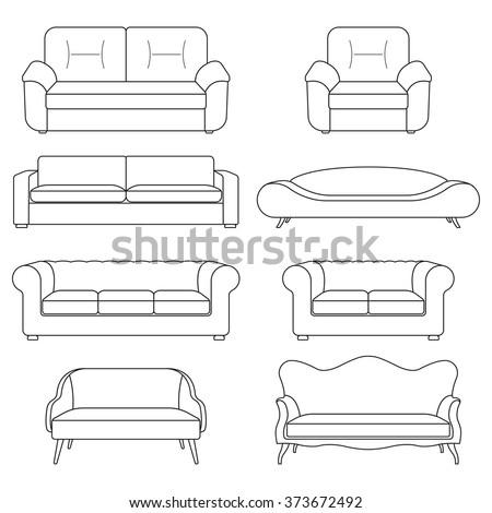 sofa icon line set modern
