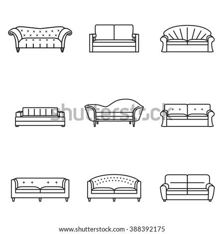 284156315 Shutterstock Furniture Hand Drawn Set Vintage Sofa