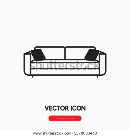 Sofa icon vector. Sofa symbol. Linear style sign for mobile concept and web design. Sofa symbol illustration. Pixel vector graphics - Vector.