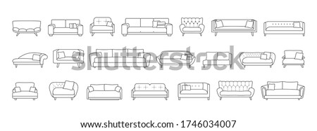 Sofa isolated line set icon. Vector illustration couch on white background . Furniture line set icon. Photo stock ©