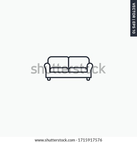 Sofa, linear style sign for mobile concept and web design. Symbol, logo illustration. Pixel perfect vector graphics Stockfoto ©