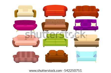 sofa set vector illustration
