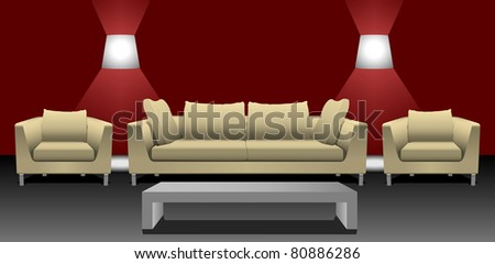 sofa set with table and wall