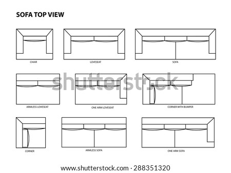 Blueprint Of Sofa Vector Front View Stock Photo 256465291