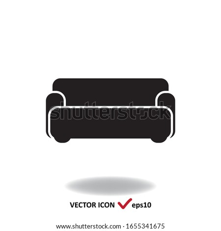 Sofa vector flat icon, simple sign isolated on white