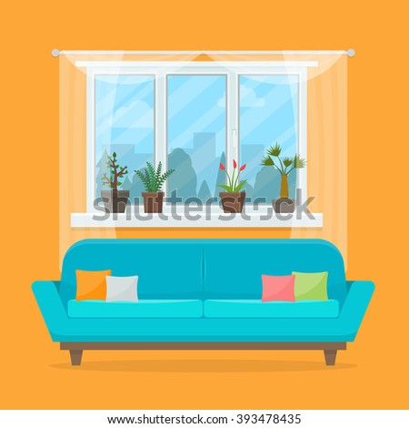 sofa with pillows and window