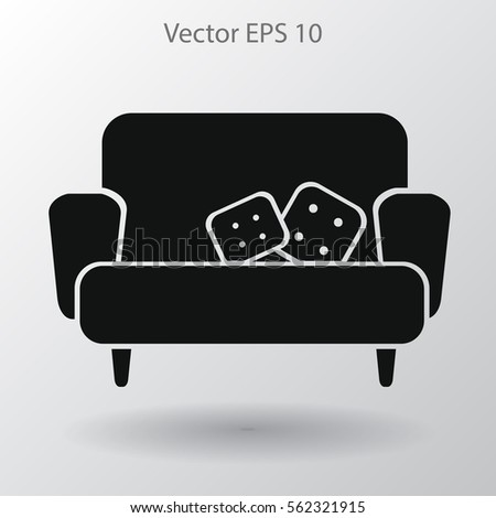 sofa with pillows vector illustration