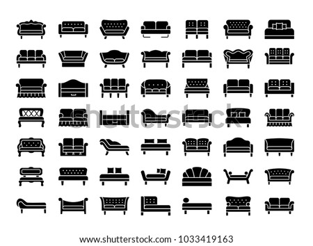 Sofas & Couches. Living room & patio furniture. Different kinds of classic and modern settees, loveseats. Benches & daybeds. Front view. Vector icon collection.