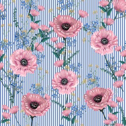 Soft and gentle of Botanical blooming garden flowers many kind of floral seamless pattern on light blue striped,Design for fashion,fabric,web,wallpaper,wrapping and all graphic type