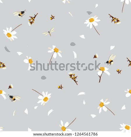 Soft and gentle  pretty daisy floral print  blowing in the wind design with bumble bees seamless pattern in vector for fashion ,fabric ,wallpaper and all prints on light grey background color