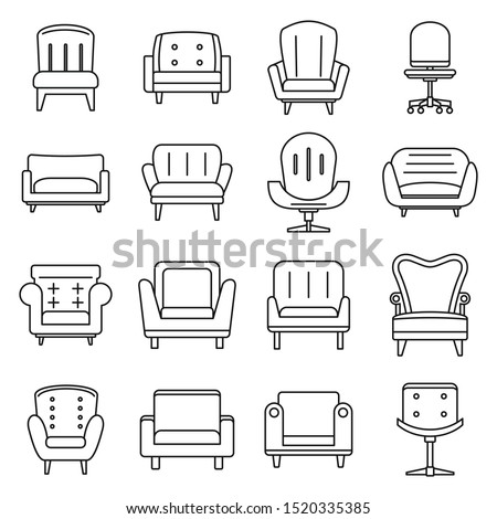 Soft armchair icons set. Outline set of soft armchair vector icons for web design isolated on white background