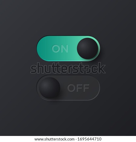 Soft black Neumorphist on and off toggle switch for UI interface. Trending Vector design UX element.  Stock photo ©