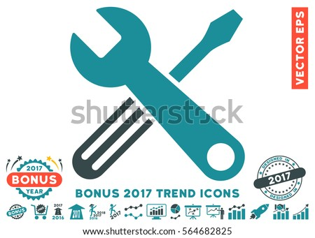 Soft Blue Tools pictogram with bonus 2017 year trend icon set. Vector illustration style is flat iconic bicolor symbols, white background.