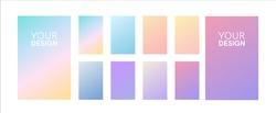 Soft color gradients set. Background for app, greeting card, flyer, invitation, poster, brochure, banner. Simple modern design. Retro vibrant palette.