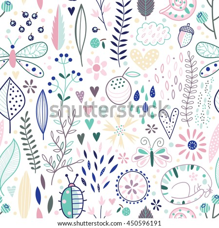 Soft-colored romantic seamless vector floral pattern