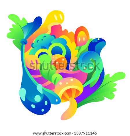 Soft colorful characters. Children's illustration, abstraction. Forest dwellers.