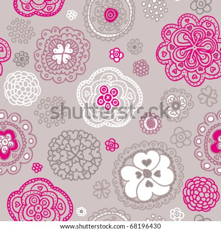 Soft coloured snowflake flower background pattern in vector