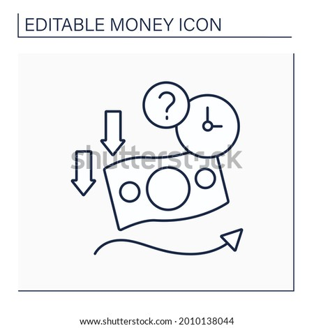 Soft currency line icon. Valuta which value fluctuates. Lower relative to other currencies. Money concept. Isolated vector illustration. Editable stroke Foto d'archivio ©