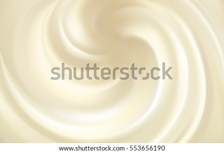 Soft curvy gray fluid cheese with space for text. Whirl light beige eddy surface. Yummy sweet vanilla yoghurt spread. Close up view