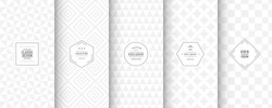 Soft delicate patterns. Set of seamless neutral vector patterns. Light mesh background. Geometric white patterns for silver luxury invitation, classic scrapbooking and gentle design. Light grey color