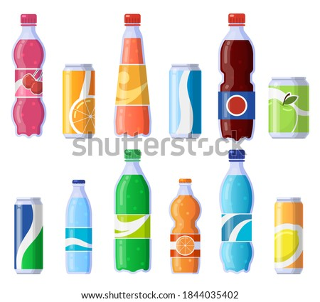 Soft drink cans and bottles. Soda bottled drinks, soft fizzy canned drinks, soda and juice beverages isolated vector illustration icons set. Beverage fizzy juice, soda in plastic and tin