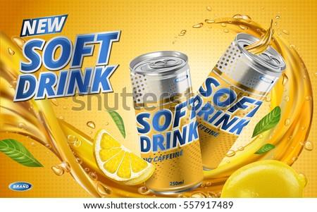 soft drink lemon flavor contained in yellow metal can, orange background and flows