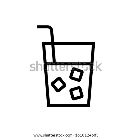 Soft drink vector icon, soft drink icon symbol sign, drinks  in outline, lineart style isolated on white background