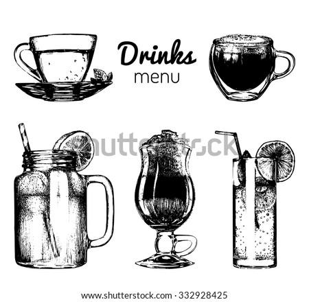 Soft drinks and glasses for bar, restaurant, cafe menu. Hand drawn different beverages vector illustrations set: lemonade, coffee, tea.