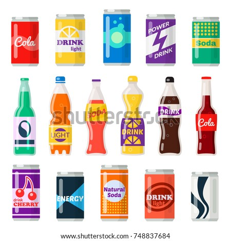 Shutterstock Soft drinks bottles. Bottled beverage, vitamin juice, sparkling or natural water in cans, glass and plastic bottles. Vector flat style cartoon illustration isolated on white background