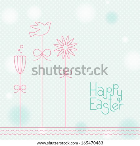 Soft Easter Illustration with Cute Flowers and Bird - stock vector