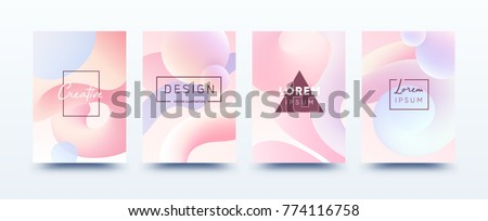 Soft fluid shapes poster covers set with modern gradient background colors. Vector templates for placards, banners, flyers, labels and reports. Vector EPS 10 illustration.
