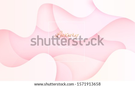 Soft gradient background in fluid modern colors. Paper cut texture, baby pink glamour pattern for ads, cosmetics cover, woman poster. Liquid dynamic shapes abstract composition. Vector EPS 10.