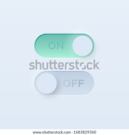 Soft Neumorphistic on and off toggle switch for UI interface. Trending Vector design UX element.  Stock photo ©